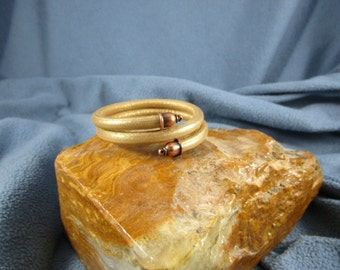 6mm Round Gold Leather Bracelet with Memory Wire.