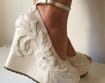 Wedding ,Wedding  Wedge Shoes, Bridal Wedge Shoes,Bridal Shoes, Bridal Platform Wedges, Bridal Wedge Shoes, Ivory Wedding Shoes, Bridal Shoe