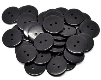 Pack of 25 Black Resin Buttons 23mm.  Sewing Knitting Scrapbook and other craft projects