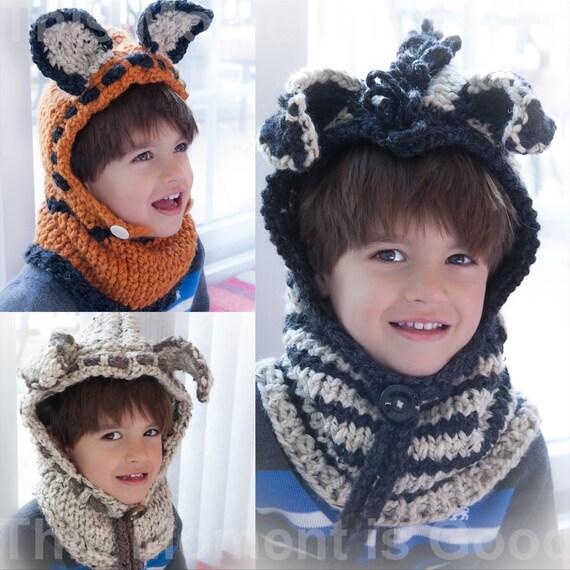 Knitting Pattern Fox Hood : Loom Knit Hood 3 PATTERN Collection Fox hood Zebra Hood