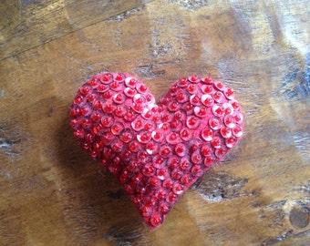 Red sequence felt hand sewn heart
