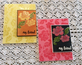 Handmade Greeting Card: Friendship cards with yellow or pink roses.