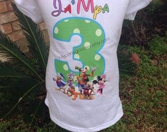 Mickey Mouse clubhouse birthday shirt, Mickey mouse shirt, minnie and daise shirt , Minnie Mouse shirt rainbow shirt.