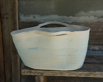 Large Coiled Rope Tote, Blue Ombre