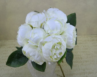No. B0821 Cream Peony  Bouquet - Artificial Flower Bouquet, Artificial Flower, Wedding Bouquet, Bridesmaid Bouquet