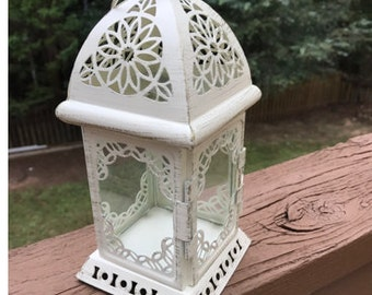 NO: L004 Wedding Lantern Centerpiece Vintage Antique White & Gold. Wedding Decor. Wedding Table Centerpieces. Centerpiece Ideas