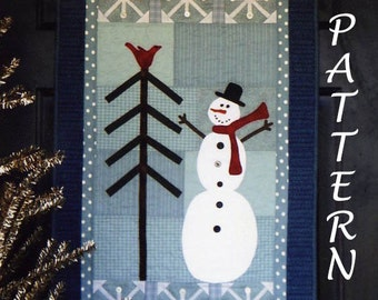 """Snowman Wall Hanging Pattern, Christmas Pattern, Winter Wonderland #252 Joined at the Hip, Applique Christmas Quilt Pattern, 20"""" x 34"""", Sale"""