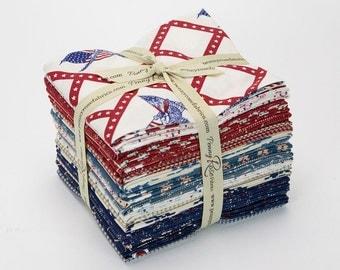 Patriotic Fat Quarter Bundle of 21, Penny Rose Americana, Carrie Quinn, Patriotic Fabric Bundle, Cotton Quilt Fabric