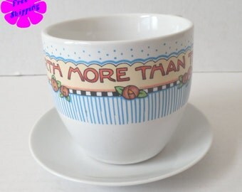 "Mary Engelbreit ""Nothing Is Worth More than This Day"" Tea Cup 1990s"