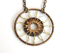Upcycled Hardware Necklace Rusty Metal Industrial Accessory Wire Wrapped Unique Pendant Unisex Post Apocalypse Rustic Tribal Sun Starburst