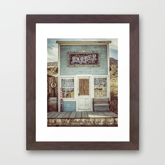 Blue Rustic Bathroom Wall Decor Barbor Shop Sign By