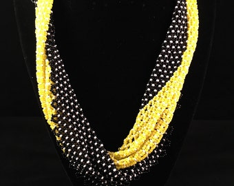 Black & Yellow beaded Scarf Necklace