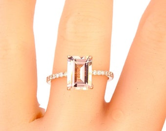 14K Rose Gold Emerald Cut Morganite and Diamond Engagement Ring Wedding Ring Anniversary Ring Promise Ring Solitaire Ring Yellow Gold White
