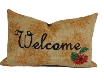 Sale!!!, Burlap pillow, 12x18, Pillow cover, Decorative pillow, Throw pillow, Sunflower pillow, Floral pillow, Welcome pillow, Lumbar pillow