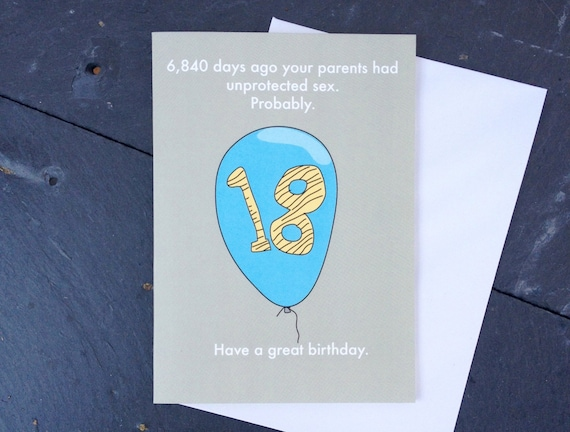 Funny 18th birthday card, funny 18, rude 18th, 21+ 20,863  birthday card