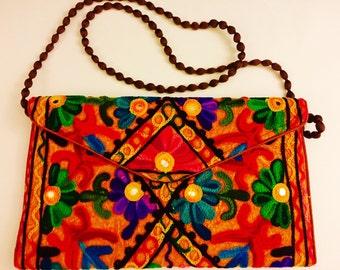 Handmade handbag clutch shoulder crossbody bag embroidered floral with mirror work orange.