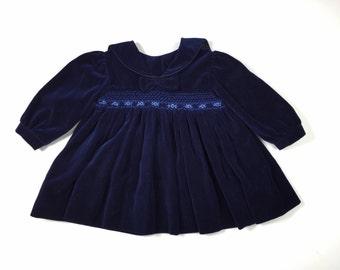 Vintage Blue Velvet Baby Girl Smocked Dress