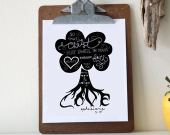 Ephesians 3:17 Printable Bible Verse Art Print 8x10 Digital Wall Art Gift