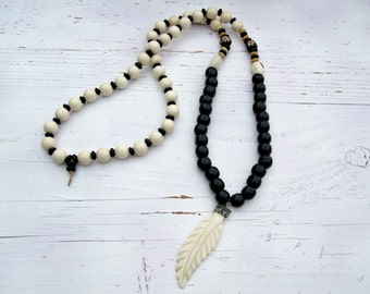 Black & White Natural Bone and wood necklace