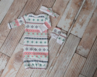 Newborn Baby Gown, Headband, Scratch Mittens Set Aztec Print with Coral, Mint, Grey, and Navy Coming Home