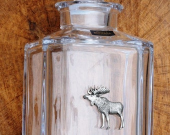 Moose Cut Crystal Glass Decanter Hunting Gift