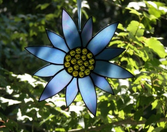 Stained Glass Flower Blue, Stained Glass Suncatcher, Stained glass Sunflower, Glass flower, Light Blue Flower flower, Flower Suncatcher