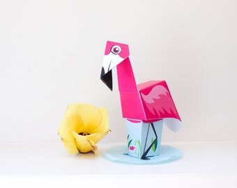 Flamingo Paper Toy / Party Favor / Printable / DIY Paper craft Kit / 3D Flamingo / INSTANT DOWNLOAD - by Kooee Papercraft