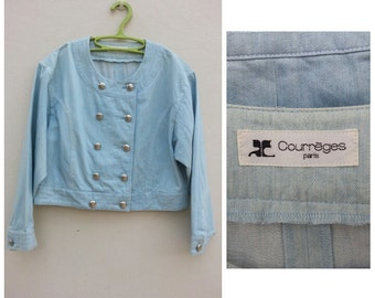 Free Shipping!!! Vintage 80s Courrèges Jacket size Japan 9AR will fit Small - Medium