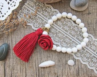 Tassels bracelets White bracelet Beach wedding Boho Bracelet for girl Gifts for teenage girls Girlfriend gift Rose bracelet Red bracelet