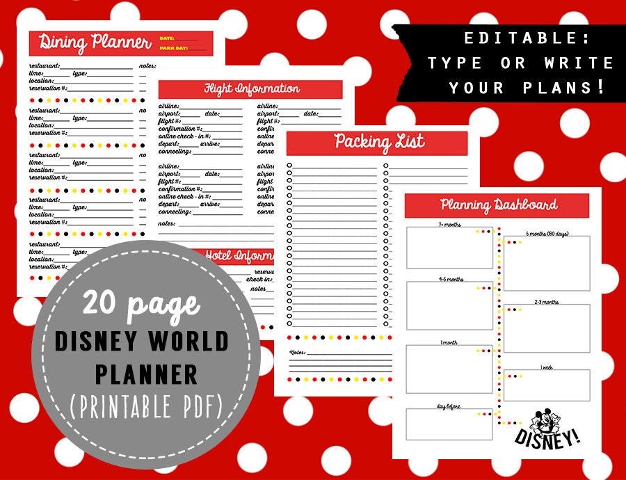 editable mini binder disney world planner. Black Bedroom Furniture Sets. Home Design Ideas