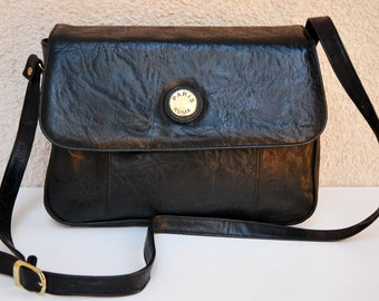 Vintage Black Faux Leather Womens Handbag Gift for her Messenger Bag Shoulder Bag