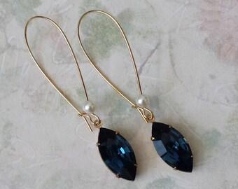 Dark Sapphire Crystal Earrings - Sapphire Rhinestone Earrings - Swarovski Crystal Earrings - Art Deco Earrings - Victorian Earrings