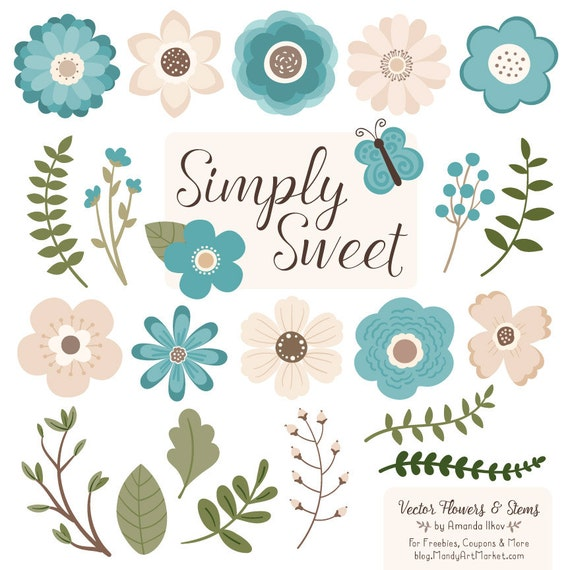 Cute Flowers Clipart in Vintage Blue Teal Vector Flowers