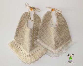 Baby girl bib with lace trim,fashion/boho/floral baby girl bib, drool bib