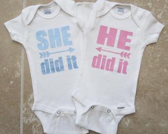 Twin Baby Shower Gift - He did it, She did it, twin baby gift, girl boy twin, cute twin