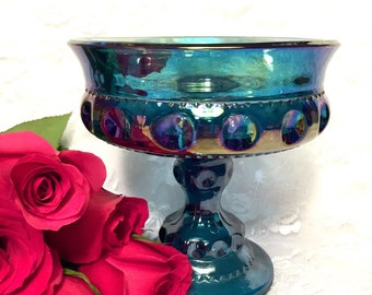 Vintage Carnival Glass Blue Vase Wedding Vase Goblet Home Decor