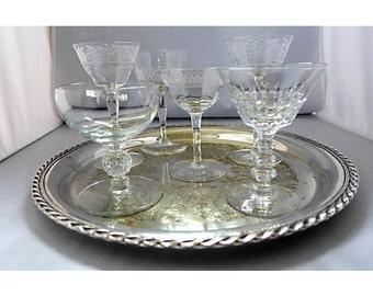 Mismatched 7-Piece holiday cut and etched stemware ensemble with Silver Plated Tray