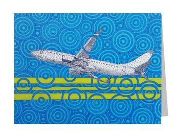 Airplane Card - Blank Greeting Card - Pilot Gift - Flight Attendant - Plane 5x7 Card - Aviation Stationery - Avgeek Notecard - Birthday Card