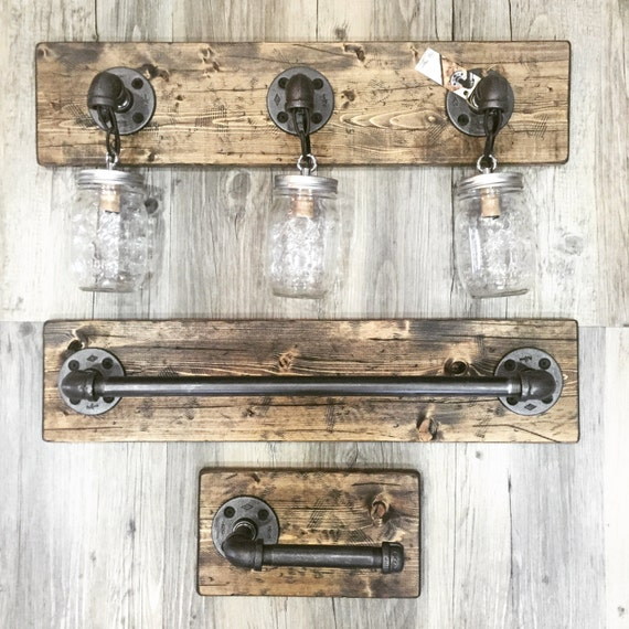 Vanity Light Bar Wood : Unique Bathroom Set Rustic Mason Jar Light Rustic Vanity