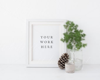 """White frame mock up - Natural Christmas - 8x10"""" Portrait - 20x25cm -  Jpeg+PSD - Pine cone, white winter styled, rustic natural frame mockup"""