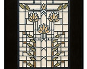 "Motawi Tile ""Waterllilies"" (Cream) 6"" x 8"" Ceramic Tile design by Frank Lloyd Wright"