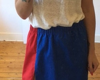 Red blue and white vintag skirt with split