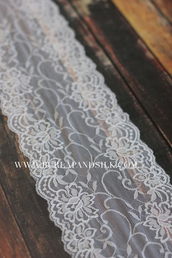 Lace Table Runner Roll 6 Inches X 20 Yd Warm White Lace