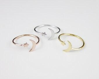 Moon and Star Ring Bridesmaid Ring Bridesmaid Gift Dainty and Delicate Ring Birthday Gift