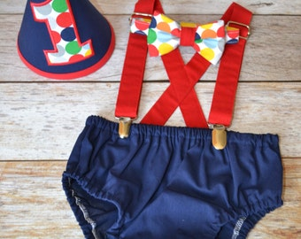 Boy Cake Smash Outfit, Bow Tie and Diaper Cover, Cake Smash Outfit, Boys 1st Birthday, Birthday Outfit, Boys Birthday, Navy w/ Dots