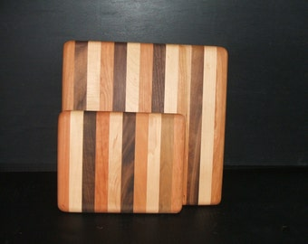 Small Striped Wooden Cutting Board - Handmade Cutting Board from Vermont - Wood Cutting Board