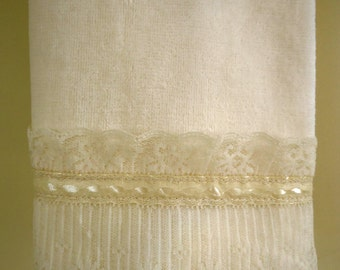 Organza Hand Towel Ivory Velour Cotton Hand or Guest Towels with Ivory Organza Lace Trim