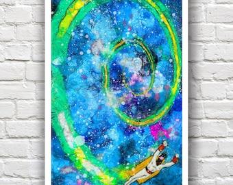 "Space Ghost Painting Print // Heavy Impasto Digital Painting // 12"" x 18"""