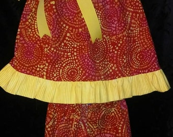 Red and Yellow Ruffled top with Ruffled capris in size 3T.  Can order in sizes 3 months to size 4T.