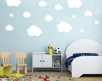 Cloud wall decals - Wall Decals - Small Clouds Vinyl Wall Decals - Set of 42 Fluffy Clouds - Clouds Pattern - Kids Nursery Playroom